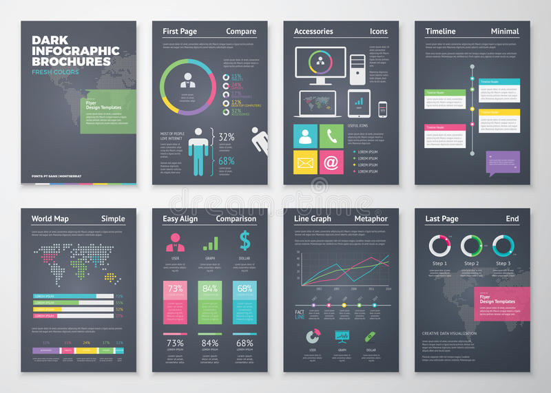 Colorful flat infographic templates on black background. Eps10