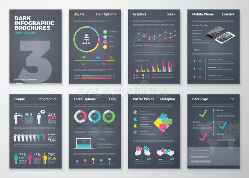 Colorful flat infographic templates on dark background stock illustration