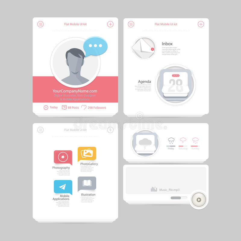 Colorful flat kit UI navigation kit elements with icons for personal portfolio website and mobile templates. Collection of colorful flat kit UI navigation kit stock illustration