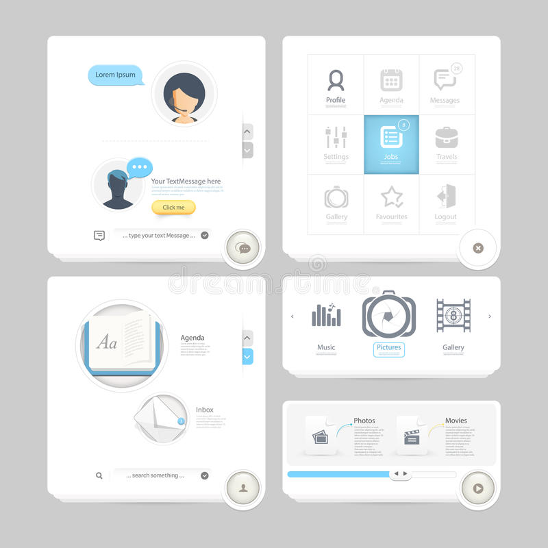 Colorful flat kit UI navigation kit elements with icons for personal portfolio website and mobile templates. Collection of colorful flat kit UI navigation kit royalty free illustration