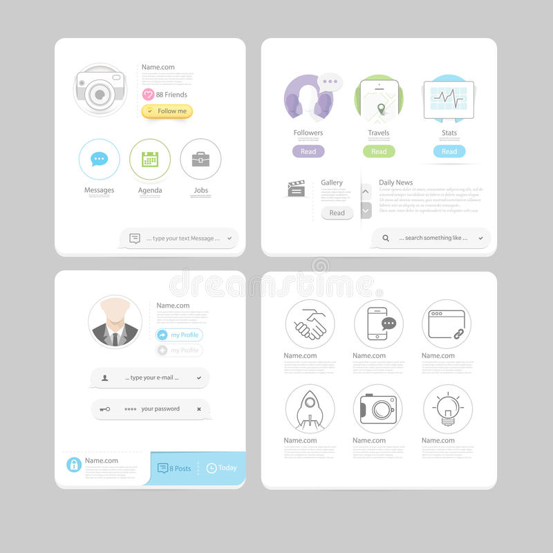 Colorful flat kit UI navigation kit elements with icons for personal portfolio website and mobile templates. Collection of colorful flat kit UI navigation kit vector illustration