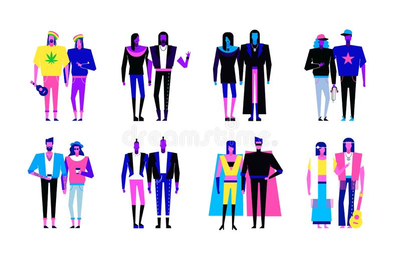 Colorful flat line characters,subculture music genre apparel style concept. Flat people outfit styles diversity-hipster,hip hop,rap,punk,hippie,rock,metal,goth royalty free illustration