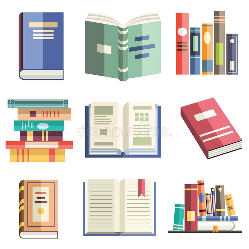 Colorful flat style icons of isolated books in various positions. Learning, studying, education, knowledge, literarure, science an stock illustration