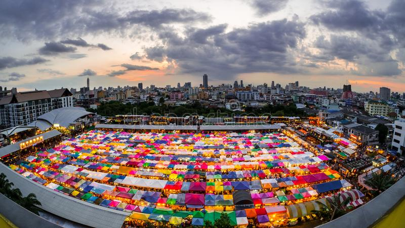 Colorful flea market in Bangkok stock photography