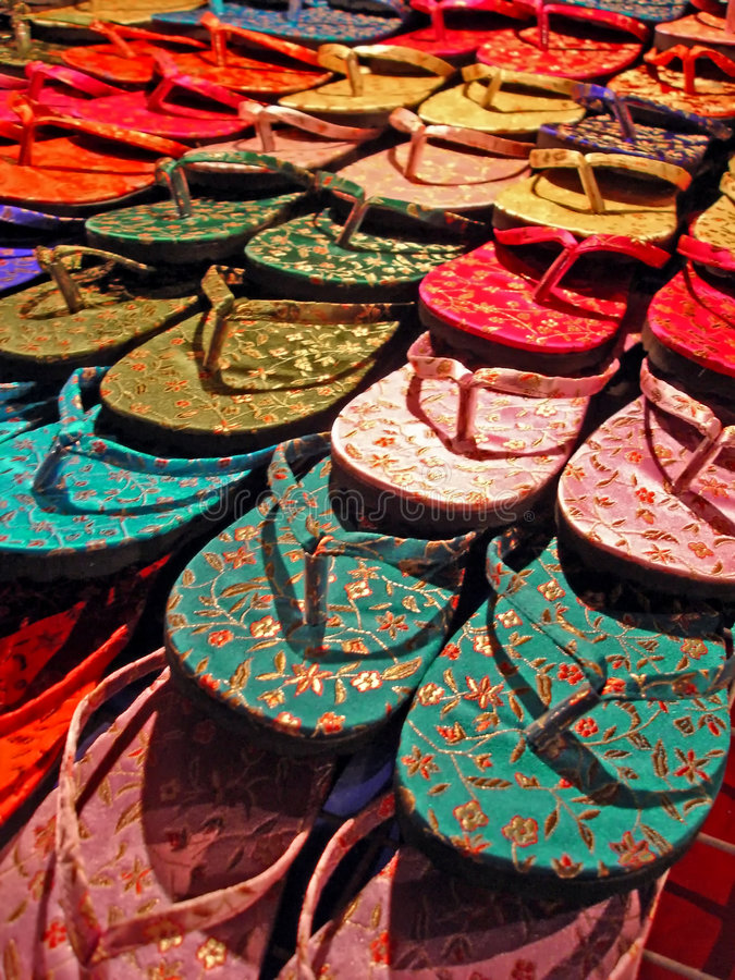 Colorful Flip Flops. Colorful flip-flops displayed at a street market royalty free stock image
