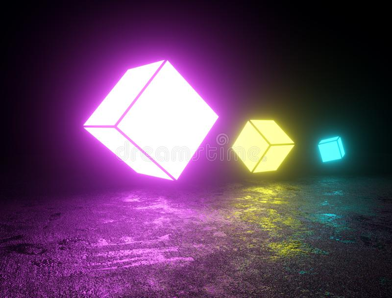 Colorful floating cube neon lights royalty free illustration