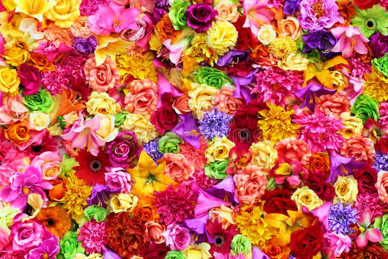 Colorful floral background, vibrant colors of artificial flowers royalty free stock image