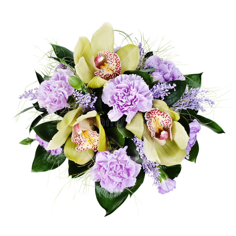 Floral bouquet of roses, carnations and orchids isolated royalty free stock photography