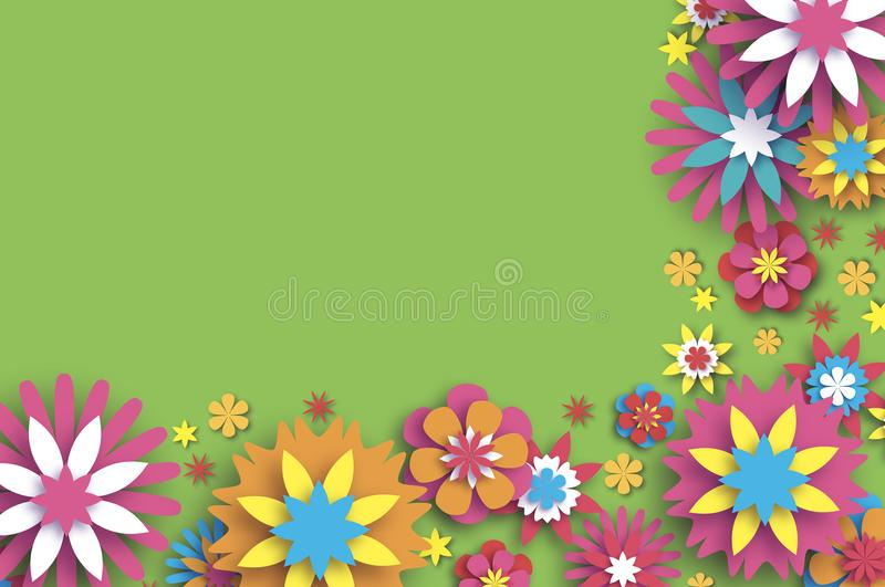 Colorful Floral Card. Paper cut Flowers Border Composition. Origami Daisy Rose flower. Text. Spring Peony blossom. Seasonal holiday on green. Modern paper vector illustration