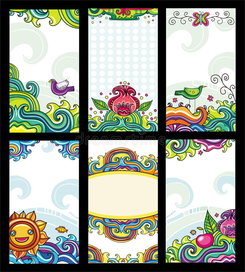 Colorful floral cards stock illustration