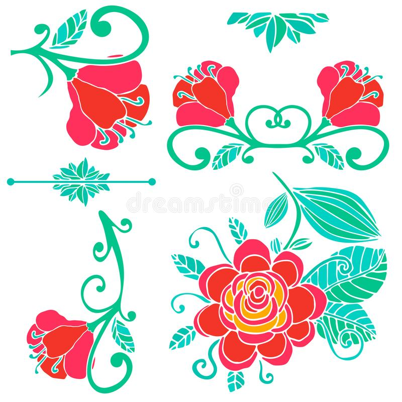 Colorful floral collection of design elements. Paradise fantasy flower isolated on white. vector illustration