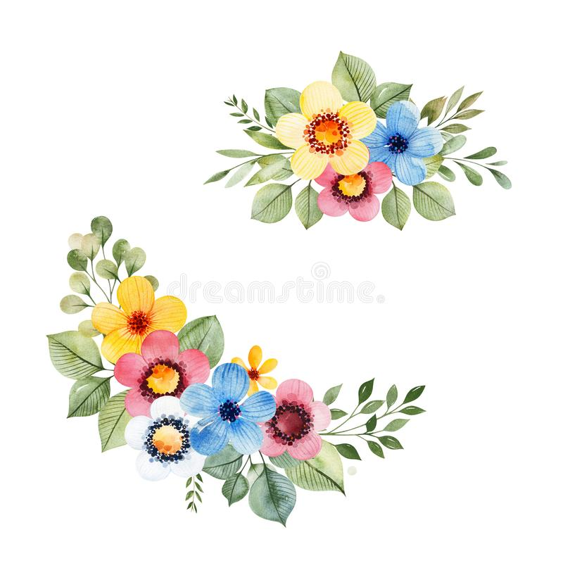 Colorful floral collection with multicolored flowers royalty free illustration