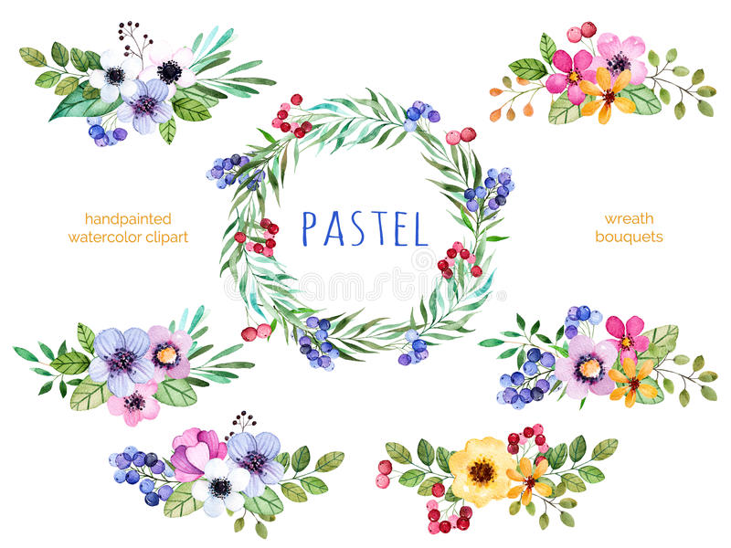 Colorful floral collection with multicolored flowers. Leaves,branches,berries and more.6 beautiful bouquets and 1 wreath for your own design.Pastel collection vector illustration