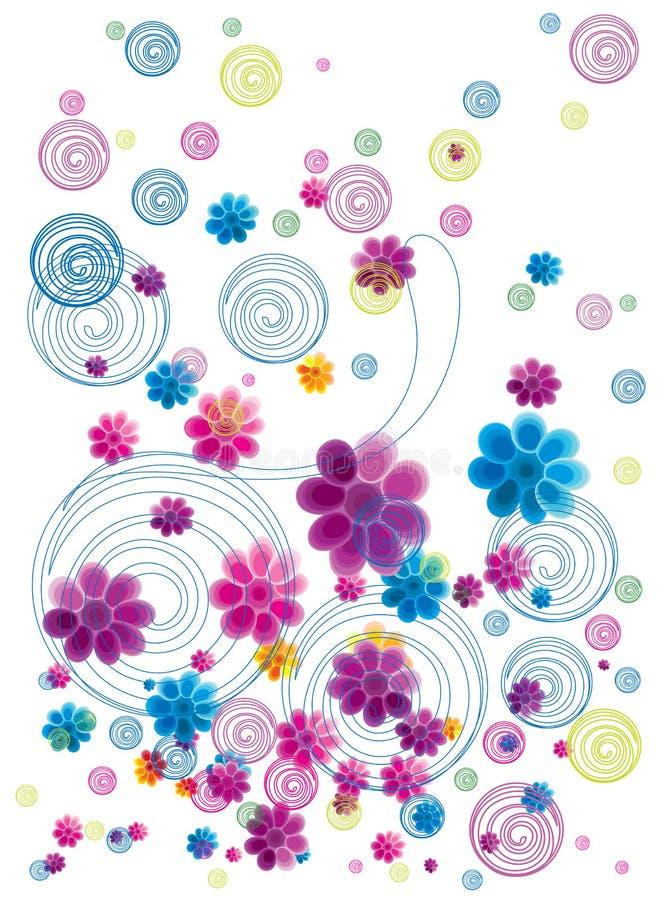 Colorful floral doodle stock illustration