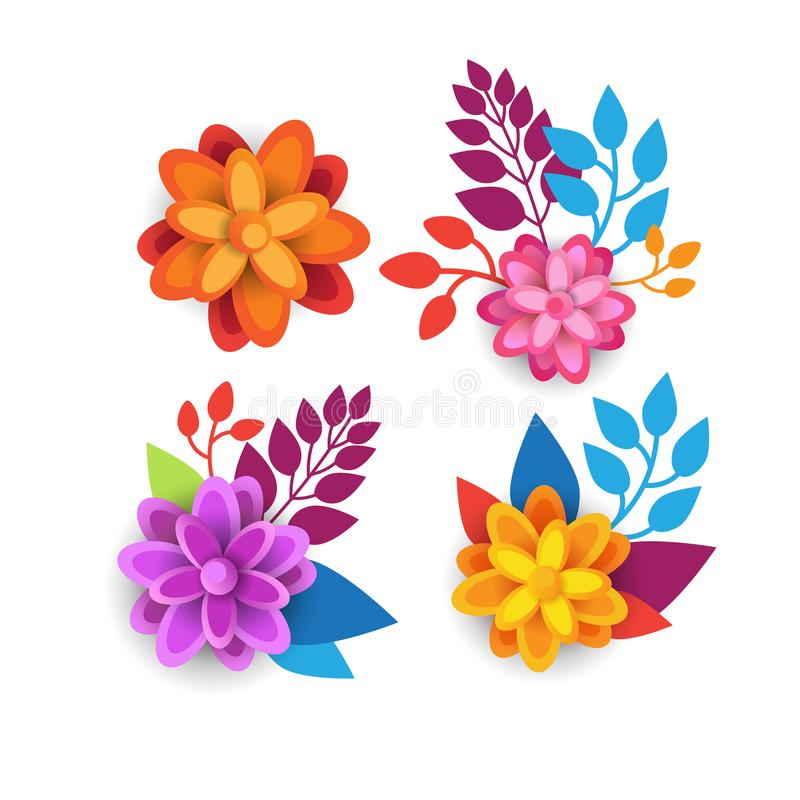 Colorful Floral Elements Graphic Design With Spring Flowers On White Background royalty free illustration