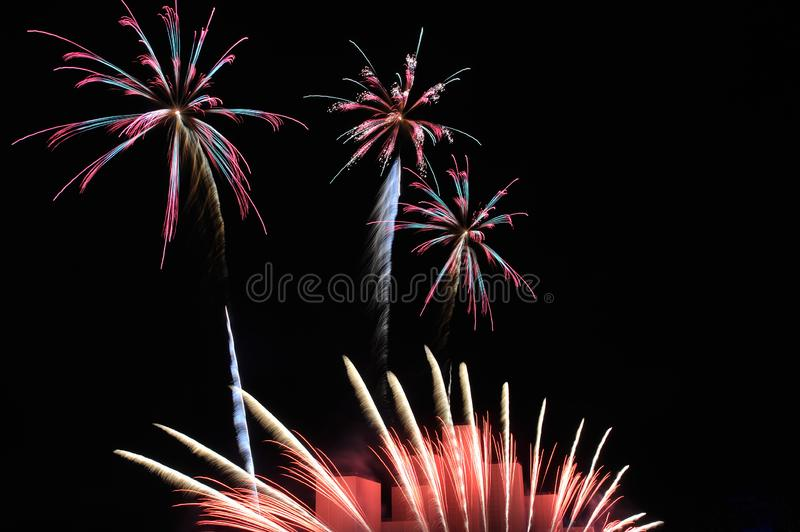 Colorful Floral Fireworks - 2018 Krylatskoye Closing Ceremony -. MOSCOW, RUSSIA - Spectacular colorful fireworks resembling flowers during Japanese Hanabi stock photo
