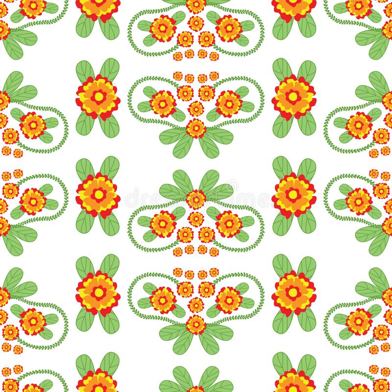 Colorful Floral Folk Vector Seamless Pattern royalty free illustration