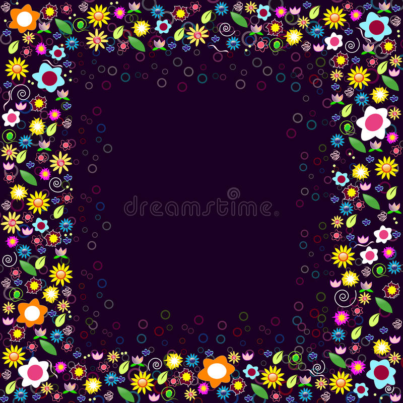 Colorful floral frame stock photo