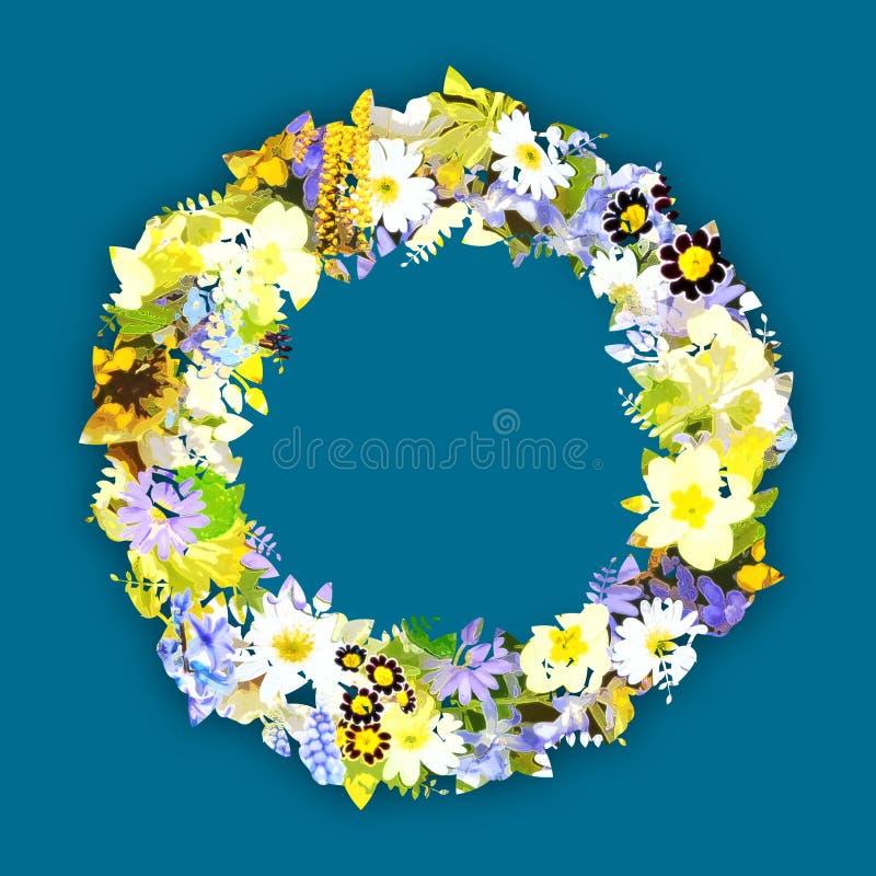 Colorful floral frame stock illustration