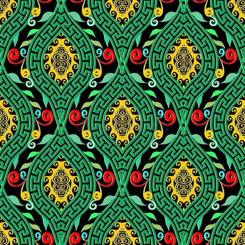 Colorful floral greek key meander seamless pattern. stock illustration