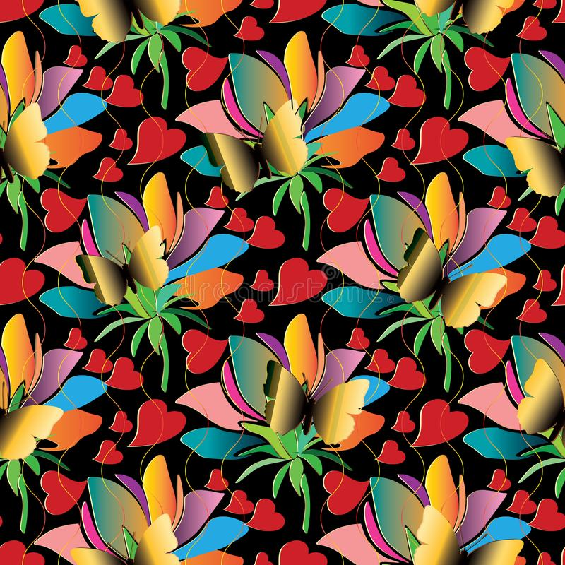 Colorful floral love hearts seamless pattern. Bright vector back. Ground with multicolor exotic flowers, abstract butterflies, red love hearts. Modern 3d royalty free illustration