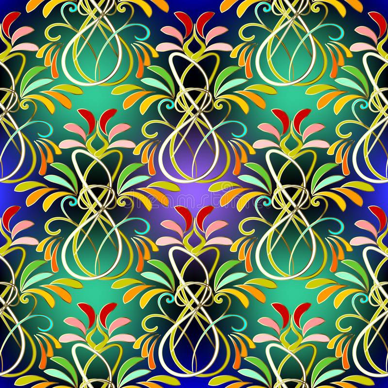 Colorful floral paisley vector seamless pattern. stock illustration
