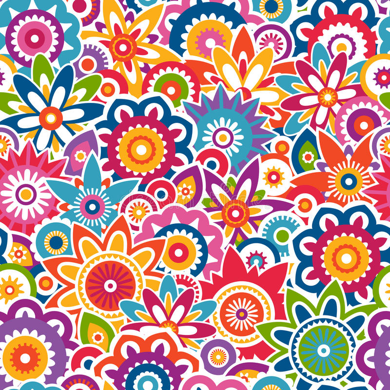 Colorful floral pattern. Seamless background. stock illustration