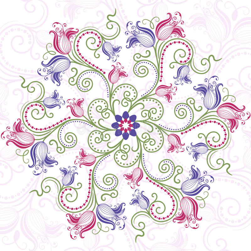 Free Colorful Floral Round Frame Royalty Free Stock Image - 23587096