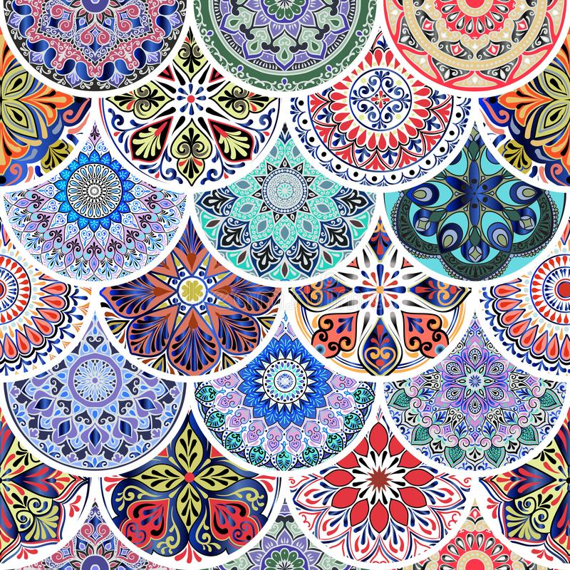 Colorful floral seamless pattern from circles with mandala in patchwork boho chic style. In portuguese and moroccan motif stock illustration
