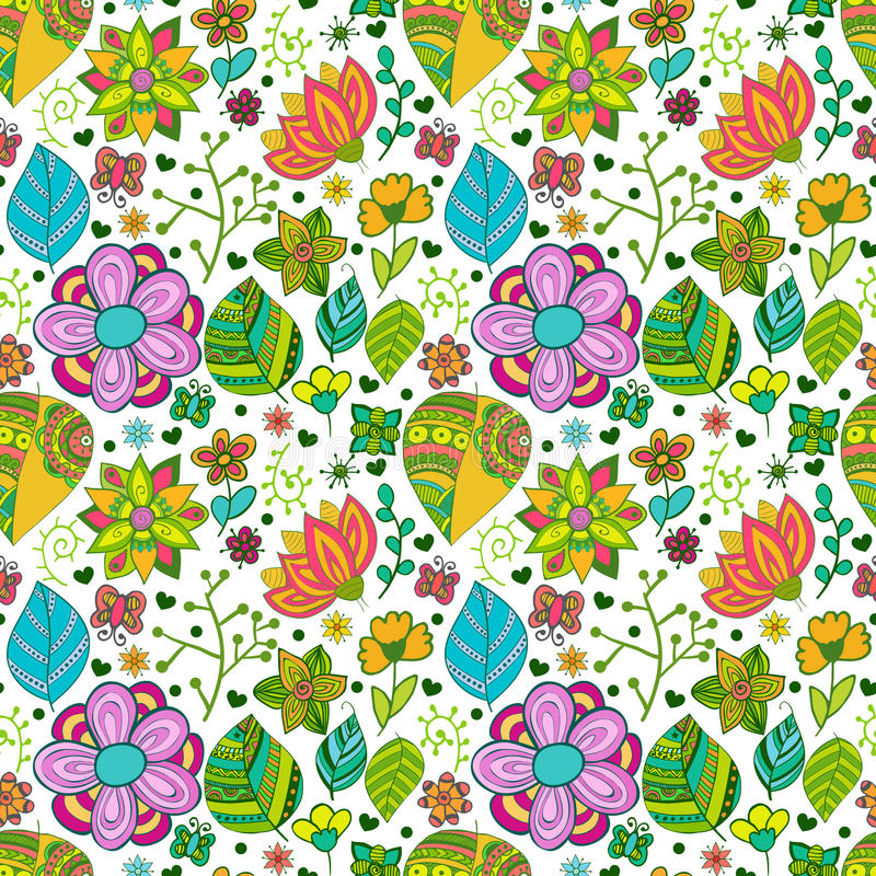 Colorful floral seamless pattern with leaves and