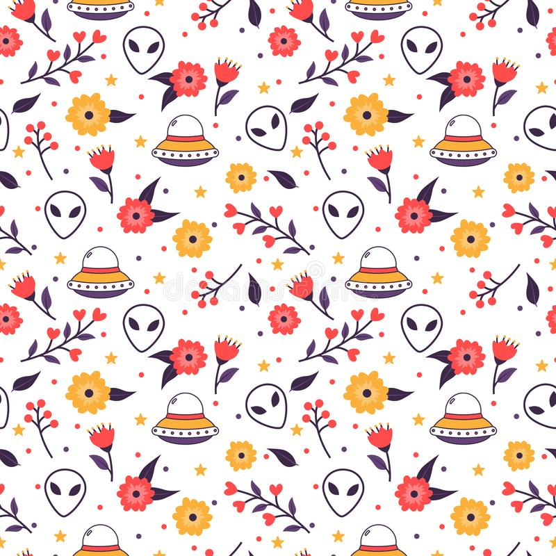 Colorful floral seamless pattern with spaceships and aliens. Colorful floral seamless pattern with spaceships and alien faces royalty free illustration