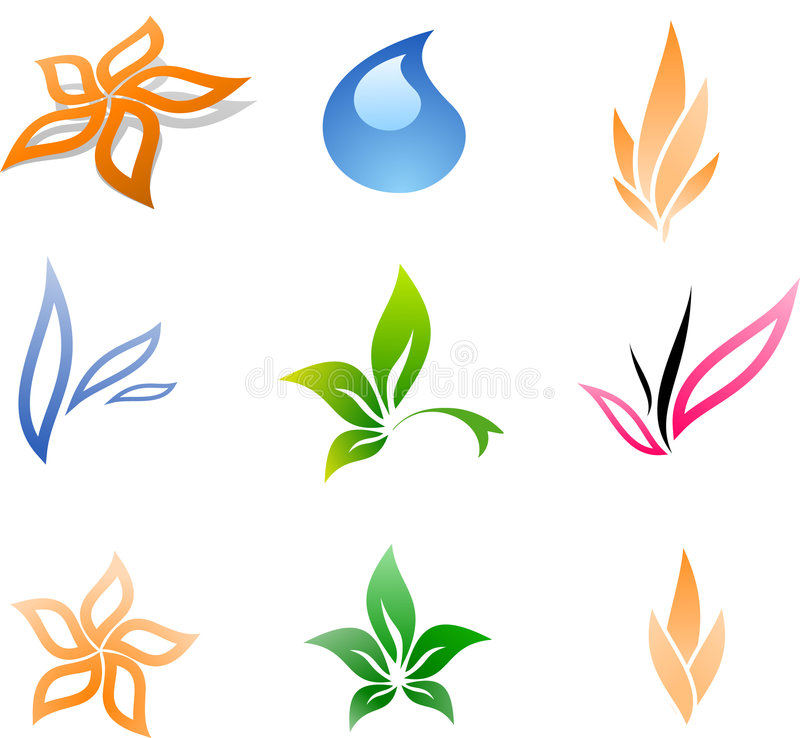 Colorful Floral signs. vector illustration