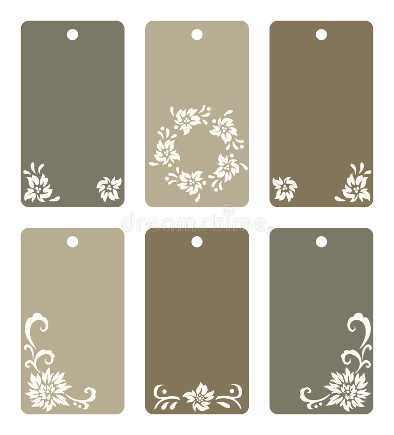 Colorful Floral Tags Set Stock Photo