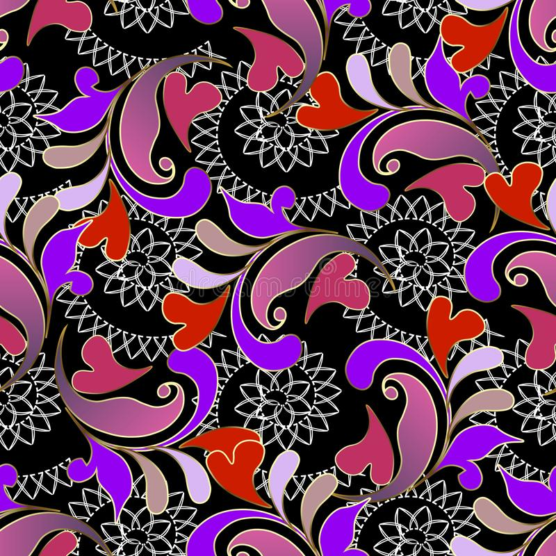 Free Colorful Floral Vintage Paisley Seamless Pattern. Vector Ornamental Flourish Love Hearts Background. Lace Spiral Lines, Shapes. B Royalty Free Stock Photo - 132107155