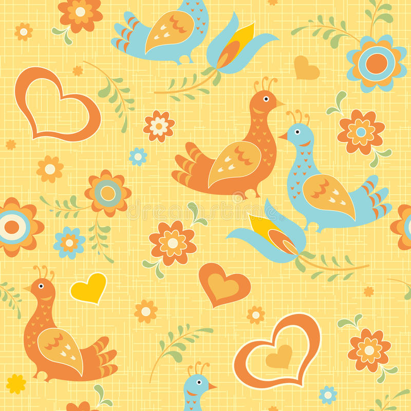 Colorful floral wallpaper folk style stock illustration