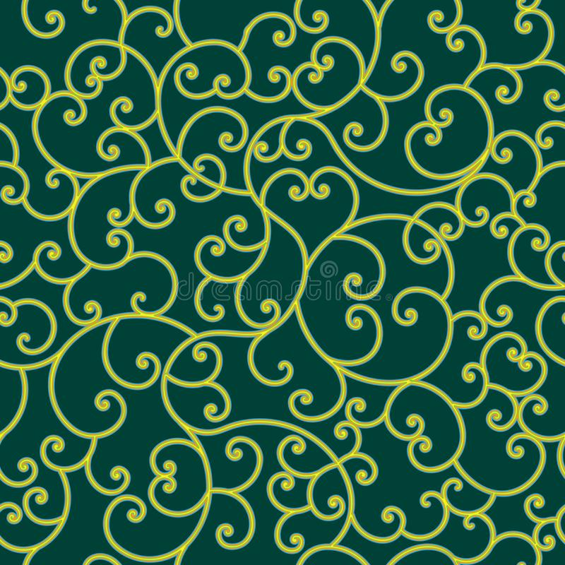 Colorful flourish pattern over green background royalty free illustration