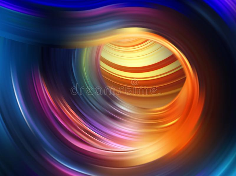 Colorful flow background. Realistic swirl tunnel. vector illustration