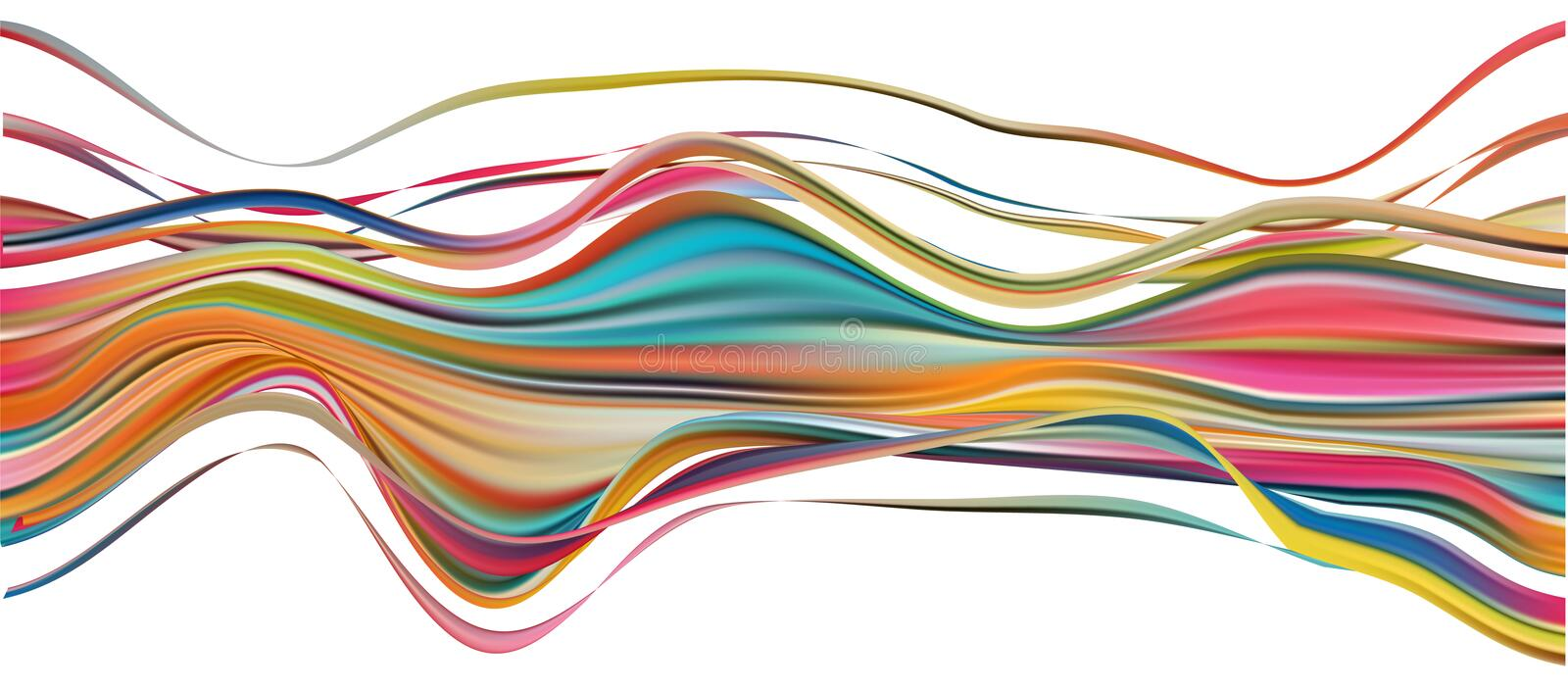 Colorful flow brush stroke. Ribbon isolated line. Colorful flow brushstroke. Ribbon isolated line.. Realistic volume wave. Liquid paint ink shape isolated on vector illustration
