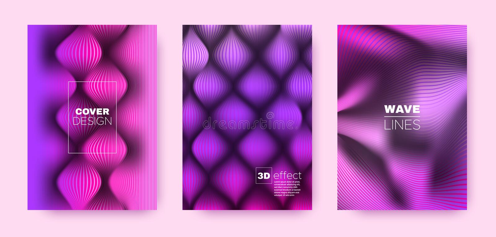 Colorful Flow Cover. Colorful Modern Template. Dynamic Distorted Lines. 3d Movement Background. Purple Distorted Texture. Wave Brochure. Minimal Cover. 3d stock illustration