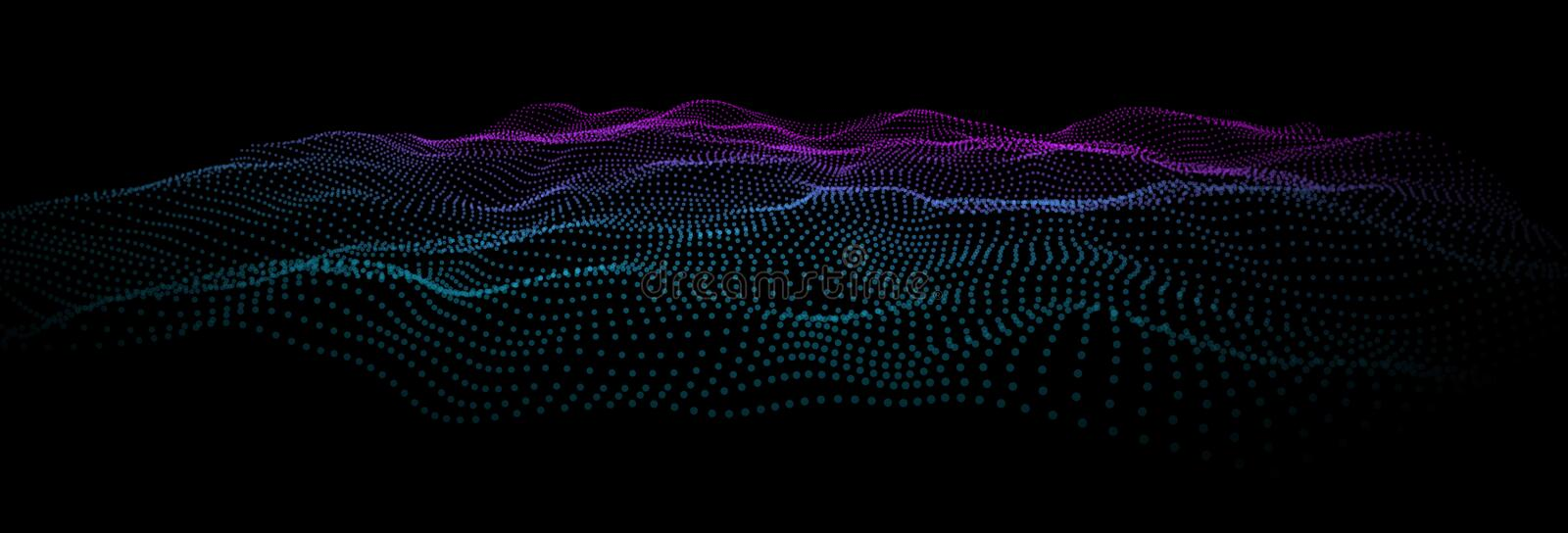 Deep data as part of big data. Point wave ui hud. Colorful flow information wave from dots.. Hud blue nodes as particle wave. Splash of explosion data points vector illustration