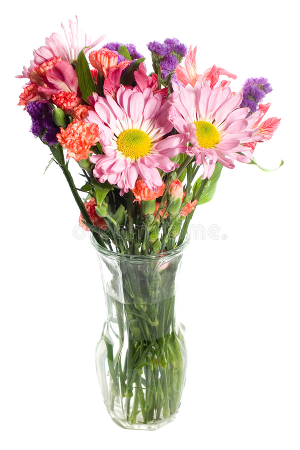 Colorful Flower Arrangement. Flower arrangement of pink daisys and other flowers isolated on white stock photography