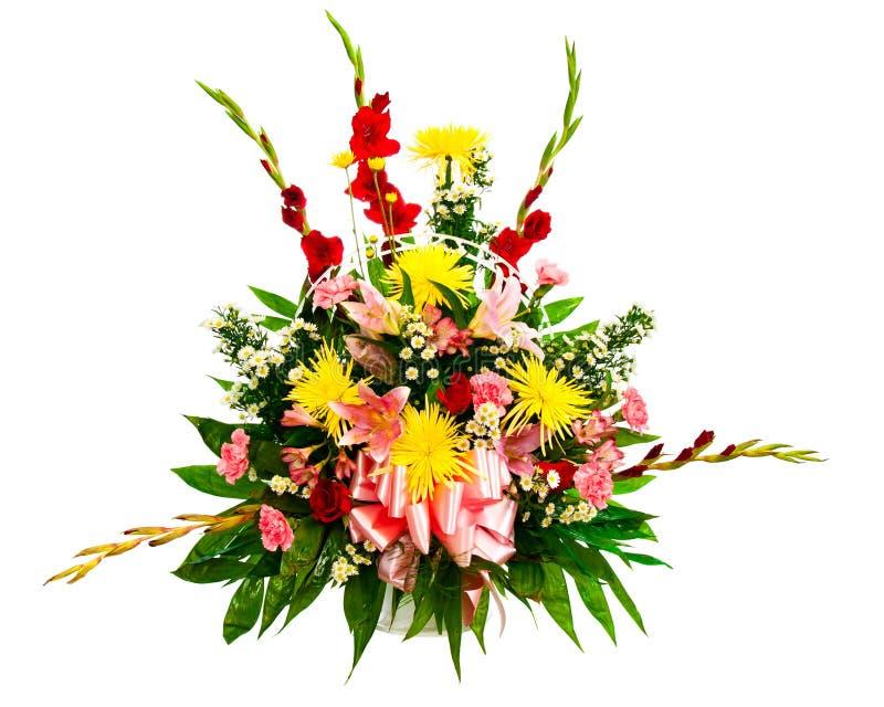 Colorful flower arrangement in basket