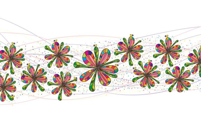 Colorful flower bird horizontal vector illustration