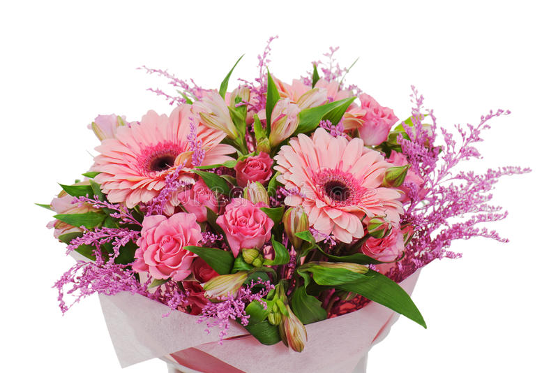 Colorful flower bouquet arrangement centerpiece. In vase isolated on white background royalty free stock images
