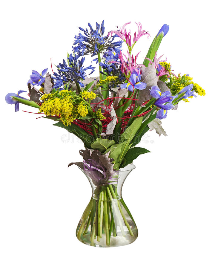 Colorful flower bouquet arrangement centerpiece in vase isolated. On white background. Closeup royalty free stock images