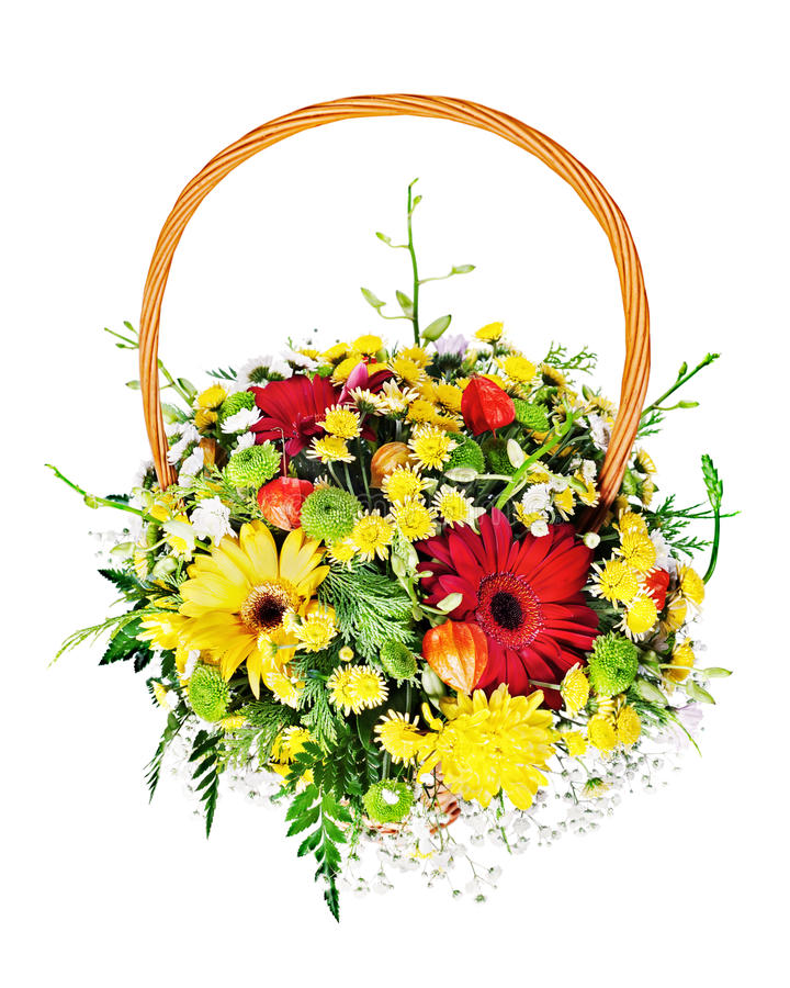 Colorful flower bouquet arrangement centerpiece in a wicker gift royalty free stock photos