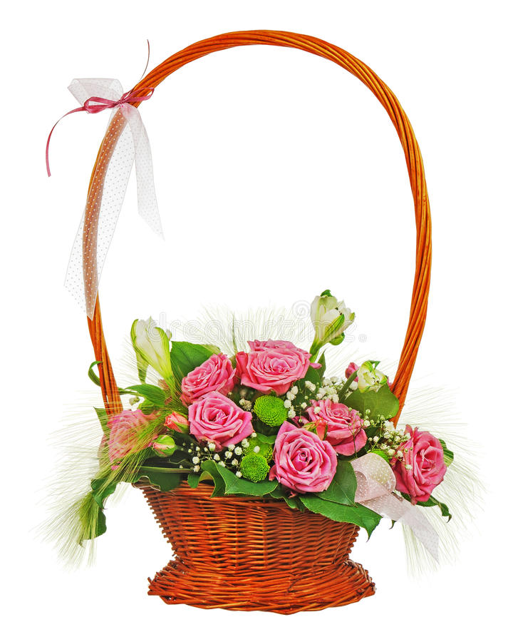 Free Colorful Flower Bouquet From Roses In Wicker Basket Isolated On Stock Images - 35853904