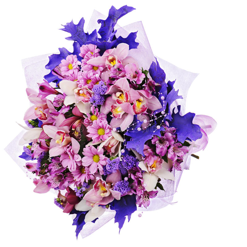 Colorful Flower Bouquet Isolated On White Background. Royalty Free Stock Photography
