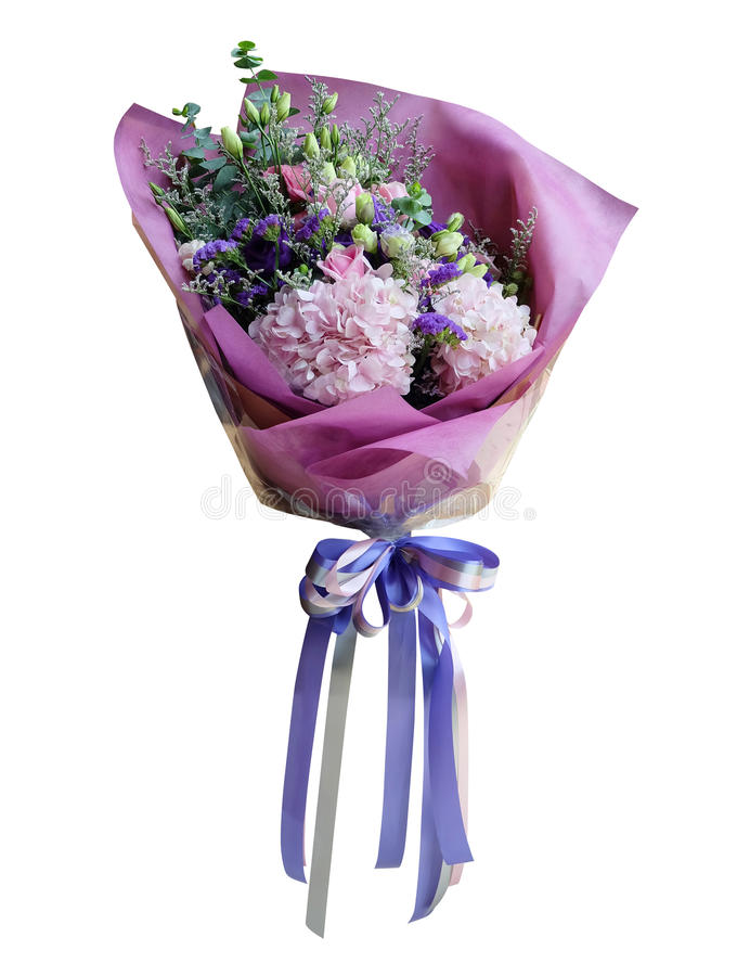 Colorful flower bouquet isolated on white background. Closeup. with clipping path. stock photo
