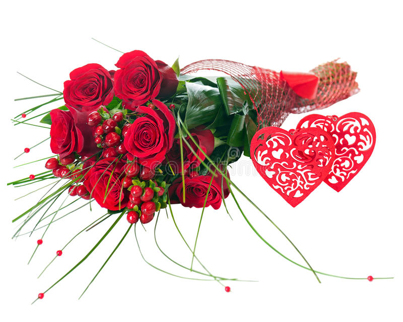 Colorful Flower Bouquet From Red Roses And Two Hearts Isolated ...